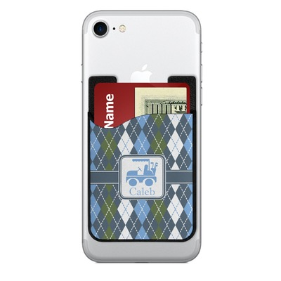 Blue Argyle 2-in-1 Cell Phone Credit Card Holder & Screen Cleaner (Personalized)