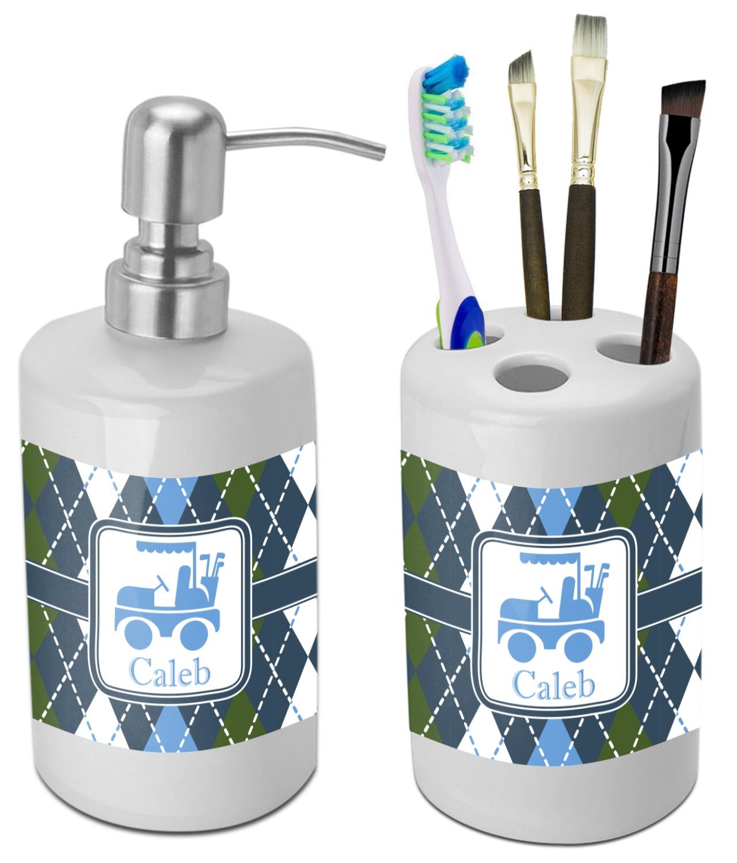 Blue argyle bathroom accessories set ceramic for Blue bath accessories set
