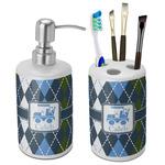 Blue Argyle Ceramic Bathroom Accessories Set (Personalized)
