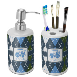 Blue Argyle Bathroom Accessories Set (Ceramic) (Personalized)