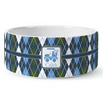 Blue Argyle Ceramic Dog Bowl (Personalized)