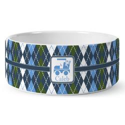 Blue Argyle Ceramic Pet Bowl (Personalized)