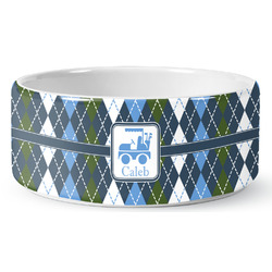 Blue Argyle Ceramic Pet Bowl (Personalized)