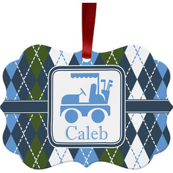 Blue Argyle Ornament (Personalized)