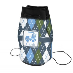 Blue Argyle Neoprene Drawstring Backpack (Personalized)