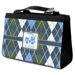 Blue Argyle Classic Tote Purse w/ Leather Trim (Personalized)