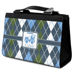 Blue Argyle Classic Tote Purse w/ Leather Trim w/ Name or Text