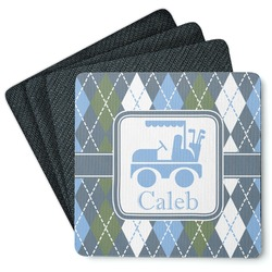 Blue Argyle 4 Square Coasters - Rubber Backed (Personalized)