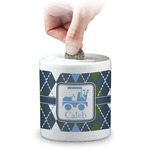 Blue Argyle Coin Bank (Personalized)