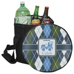 Blue Argyle Collapsible Cooler & Seat (Personalized)