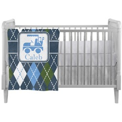 Blue Argyle Crib Comforter / Quilt (Personalized)