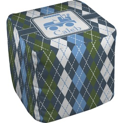 """Blue Argyle Cube Pouf Ottoman - 18"""" (Personalized)"""
