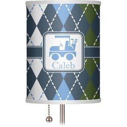 "Blue Argyle 7"" Drum Lamp Shade (Personalized)"