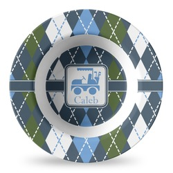 Blue Argyle Plastic Bowl - Microwave Safe - Composite Polymer (Personalized)