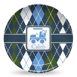Blue Argyle Microwave Safe Plastic Plate - Composite Polymer (Personalized)