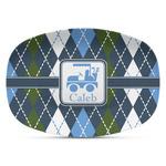 Blue Argyle Plastic Platter - Microwave & Oven Safe Composite Polymer (Personalized)