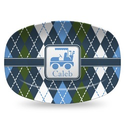 Blue Argyle Plastic Platter - Microwave & Oven Safe Composite Polymer (Personalized)