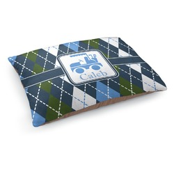 Blue Argyle Dog Pillow Bed (Personalized)