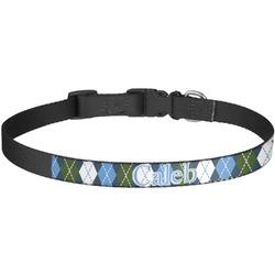 Blue Argyle Dog Collar - Large (Personalized)
