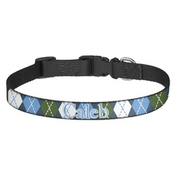 Blue Argyle Dog Collar - Multiple Sizes (Personalized)