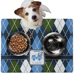 Blue Argyle Dog Food Mat - Medium w/ Name or Text