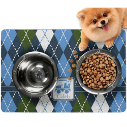 Blue Argyle Dog Food Mat - Small w/ Name or Text