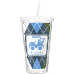 Blue Argyle Double Wall Tumbler with Straw (Personalized)