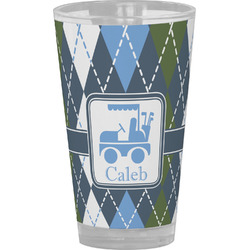 Blue Argyle Drinking / Pint Glass (Personalized)