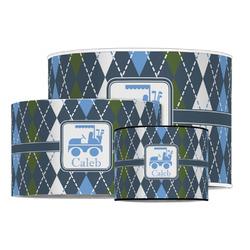 Blue Argyle Drum Lamp Shade (Personalized)