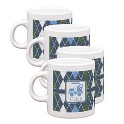 Blue Argyle Espresso Mugs - Set of 4 (Personalized)