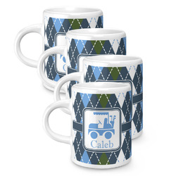 Blue Argyle Espresso Mugs - Set of 4 (Personalized)