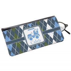 Blue Argyle Genuine Leather Eyeglass Case (Personalized)