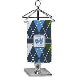Blue Argyle Finger Tip Towel - Full Print (Personalized)