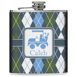 Blue Argyle Genuine Leather Flask (Personalized)
