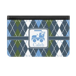 Blue Argyle Genuine Leather ID & Card Wallet - Slim Style (Personalized)