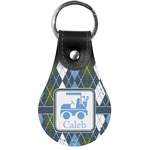 Blue Argyle Genuine Leather  Keychain (Personalized)