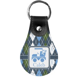 Blue Argyle Genuine Leather  Keychain (Personalized)