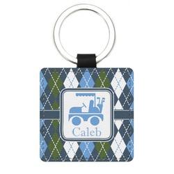 Blue Argyle Genuine Leather Rectangular Keychain (Personalized)