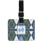 Blue Argyle Genuine Leather Rectangular  Luggage Tag (Personalized)