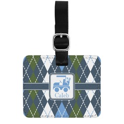 Blue Argyle Genuine Leather Rectangular  Luggage Tag (Personalized)