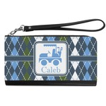 Blue Argyle Genuine Leather Smartphone Wrist Wallet (Personalized)