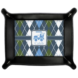 Blue Argyle Genuine Leather Valet Tray (Personalized)