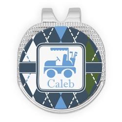 Blue Argyle Golf Ball Marker - Hat Clip