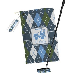Blue Argyle Golf Towel Gift Set (Personalized)