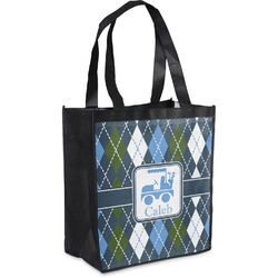 Blue Argyle Grocery Bag (Personalized)