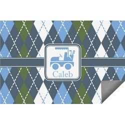 Blue Argyle Indoor / Outdoor Rug (Personalized)