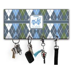Blue Argyle Key Hanger w/ 4 Hooks w/ Graphics and Text