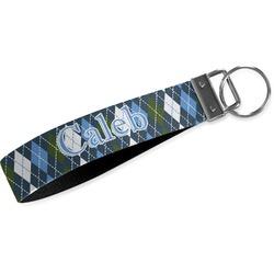 Blue Argyle Wristlet Webbing Keychain Fob (Personalized)