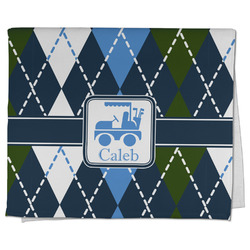 Blue Argyle Kitchen Towel - Full Print (Personalized)