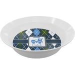 Blue Argyle Melamine Bowls (Personalized)